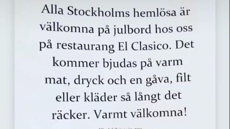 El Clasico i Stockholm bjuder hemlösa på julbord