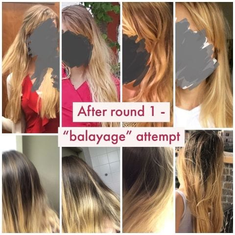 "Photo 2: how it looked after ""balayage"" - basically just blonde which grew out to look horrible – Bild från Salong Baresso av Solan R."