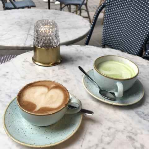 Cappuccino + matcha latte. – Photo from Crème Nybrogatan by Jessica K.