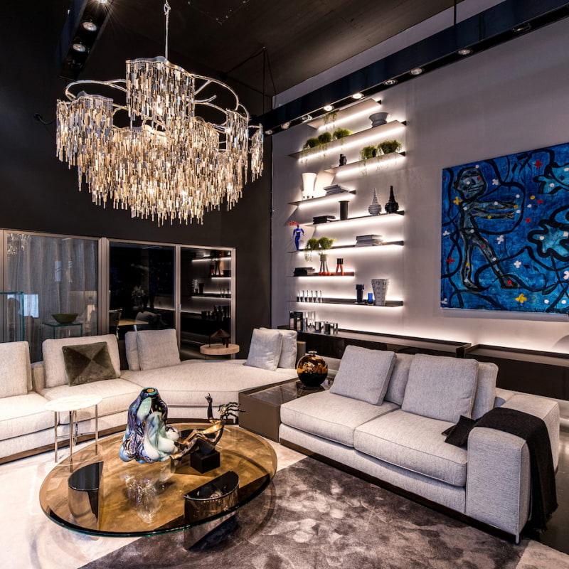 Geco showroom, Vardagsrum med möbler från Minotti, Rimadesio och Brand Van Egmond – Bild från Geco av Geco I.