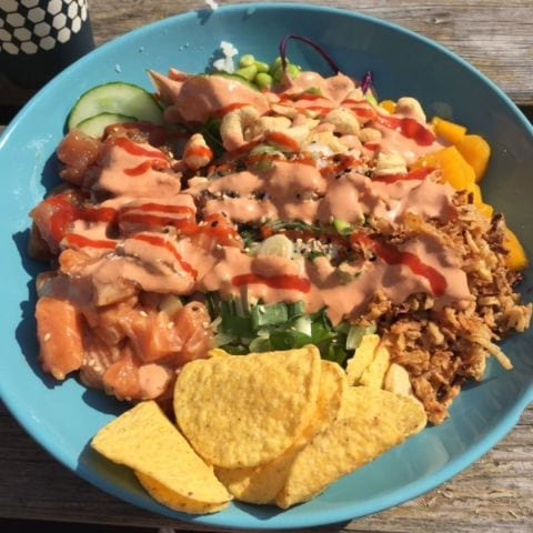 Rainbow Bowl (lax och tonfisk) på Green Smile – Photo from Green Smile by Peter B.