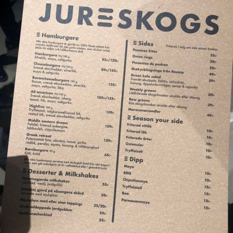 Jureskogs meny – Photo from Jureskogs Jakobsbergsgatan by Adam L.