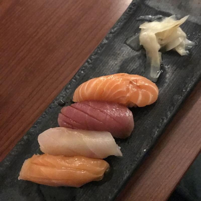 Nigiri (bland annat svärdfisk, tonfisk, lax) – Photo from Minako by Jessica K.