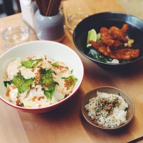 Lunchrätt: lax på ris och krispig frisk – Photo from Misshumasshu by Agnes L.