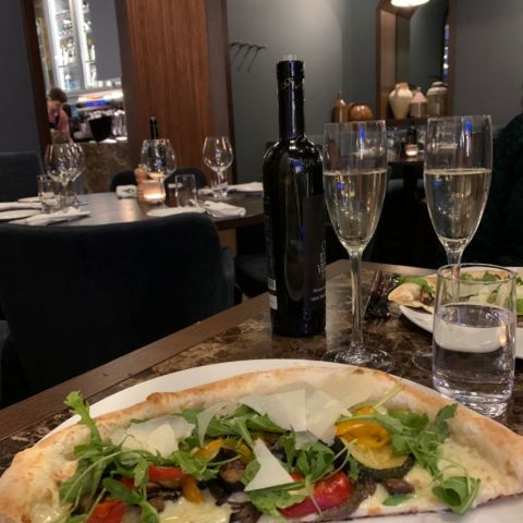 Halv pizza bianco – Photo from Portofino by Sarah A.