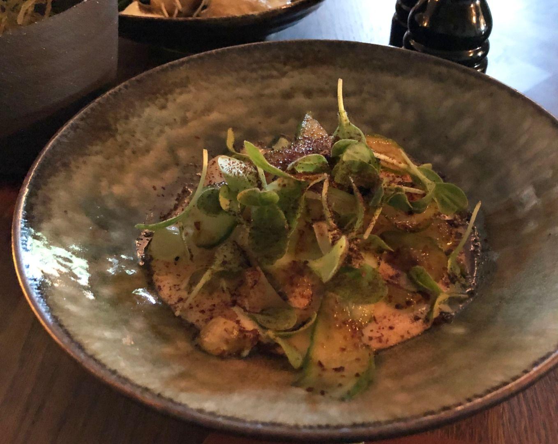 Svartrot i smörsås med mandel, gurka och riven soja – Photo from Restaurang Råkoko by Sophie E.