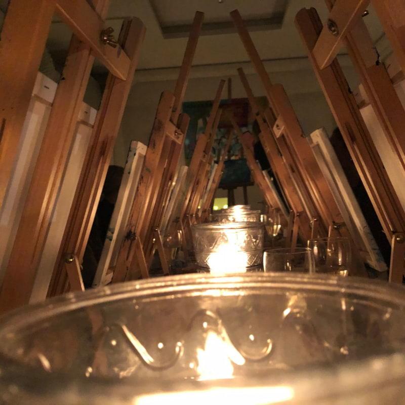 Så mysigt med tända ljus som primär ljuskälla! – Bild från Thatsup-event: Måla och Skåla av Marcus C.